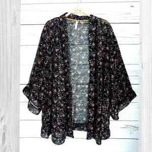 Tops - Black Floral Sheer Kimono